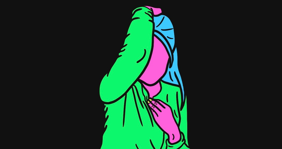 Pink person is leaning forward as their right hand holds onto the back of their hair - long, blue and in a half up-do. They are wearing a green top with neon yellow nails.