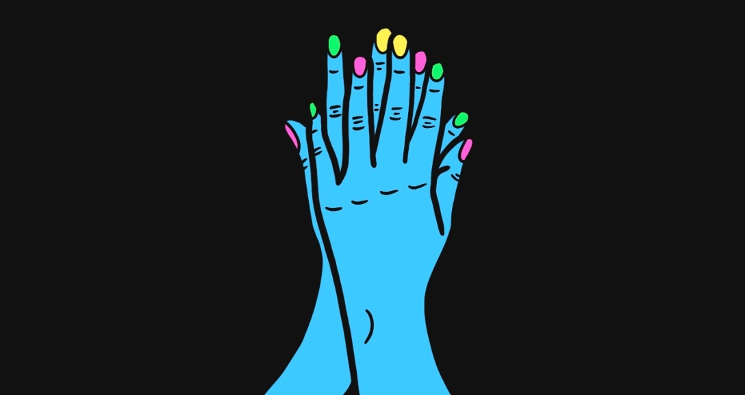 Blue hands placed over one another, covering the gaps between the fingertips. Neon nails of green, yellow and pink.
