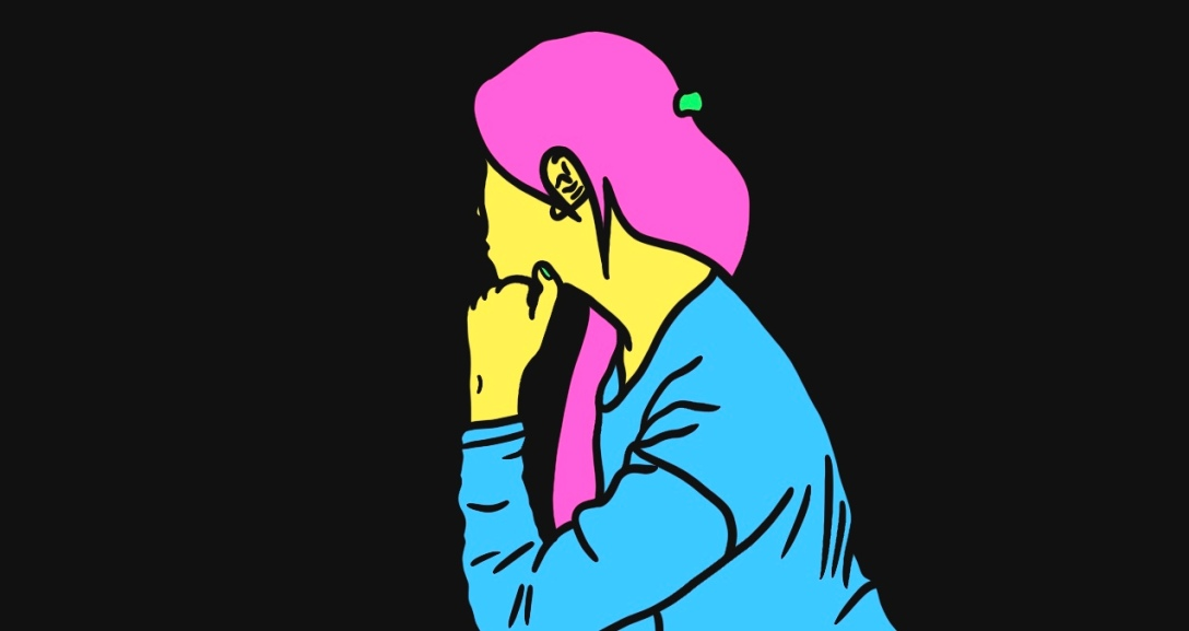 Yellow person with neon pink hair is leaning on her left hand and looking to the side, facing away. They are wearing a blue top.