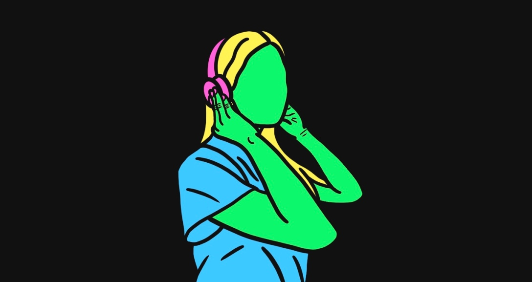 Green person is listening to music with headphones on, both hands holding at the ears. They have long, blonde hair and a blue t-shirt.