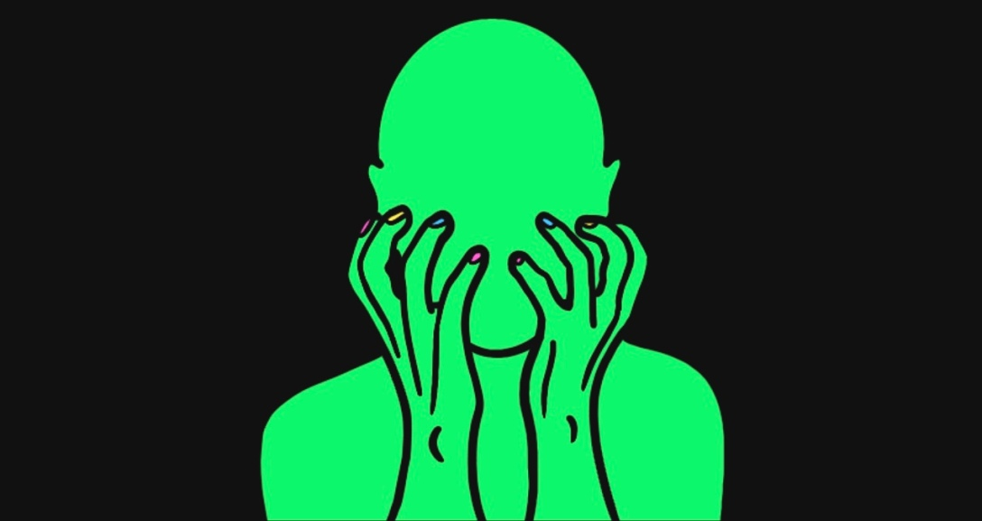 A green person is clawing at their face with neon pink, yellow and blue nails.