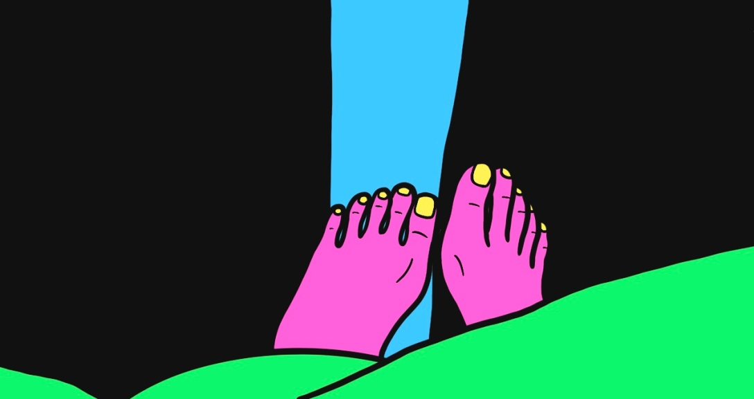Pink feet peeking from the green blanket. The black curtains are slightly opened, revealing a bright, blue sky.