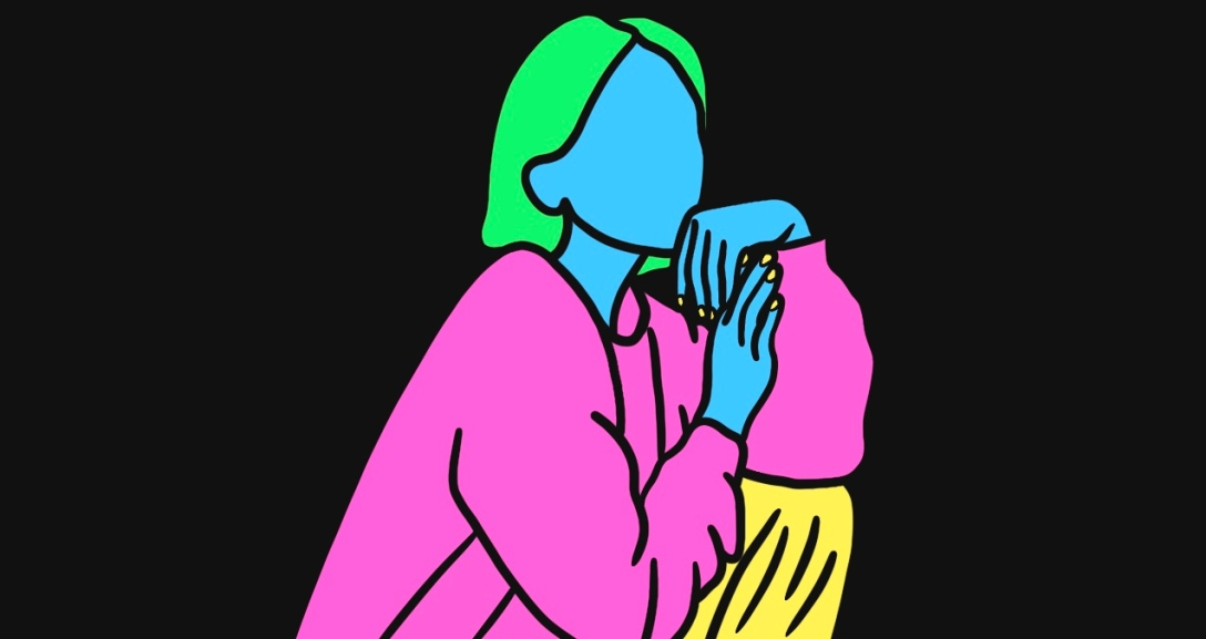 Blue person is leaning on their hand contemplating. They are sporting short, green hair, a pink jumper and yellow bottoms.