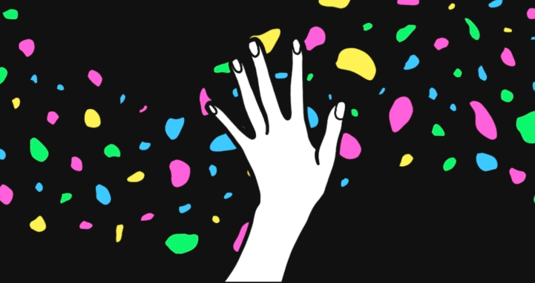 White hand is reaching out into the sky with neon pink, blue, green and yellow snow balls falling in the background.