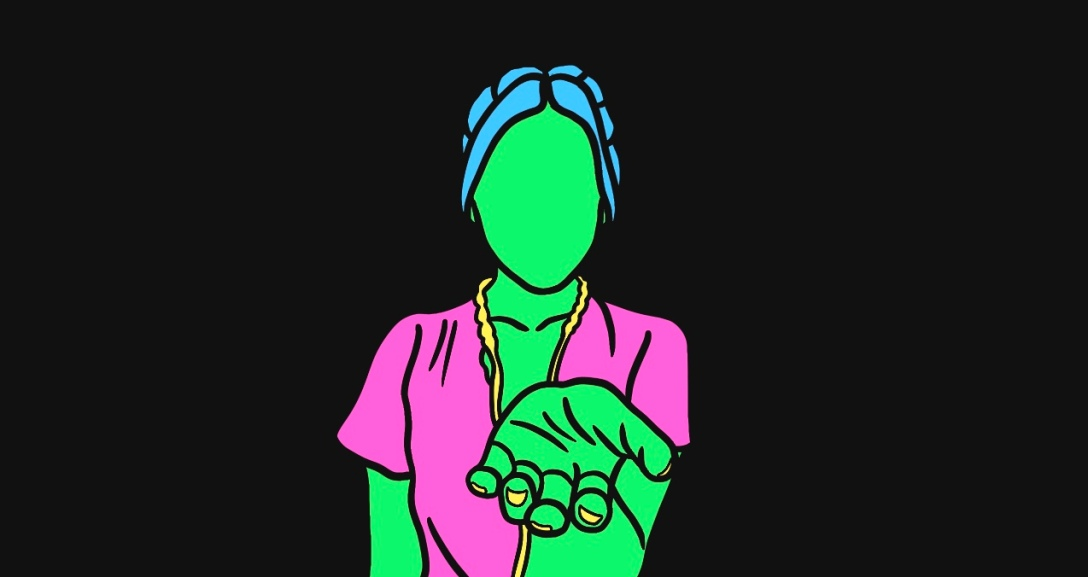 Green person has their hand up, palm facing you as if to offer a hand. They have their blue hair tied back, wearing a pink, flowy top with yellow ribbons.