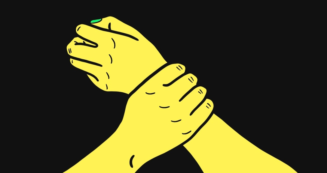 One yellow hand clutching at another yellow hand's wrist.