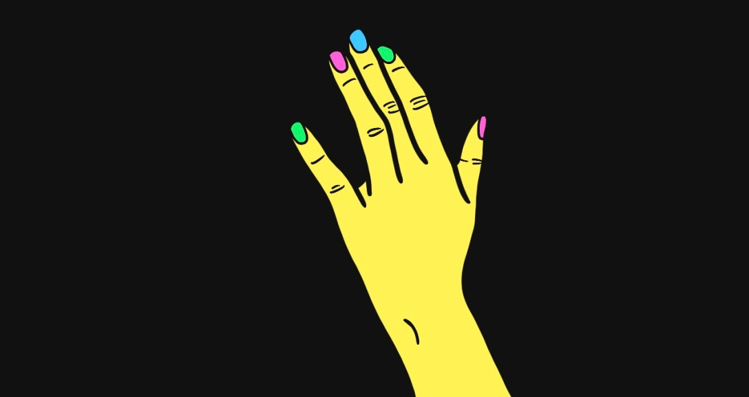 Yellow left hand with their ring finger bent. Nails are green, pink and blue.