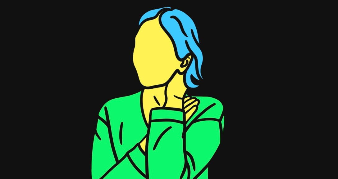 Yellow person is leaning the side of their face on their left hand. They have short, curly blue hair and is wearing a green top.