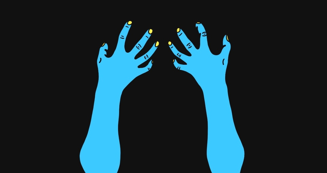 A blue pair of hands clawing at something in seething anger. Their nails are painted neon yellow.