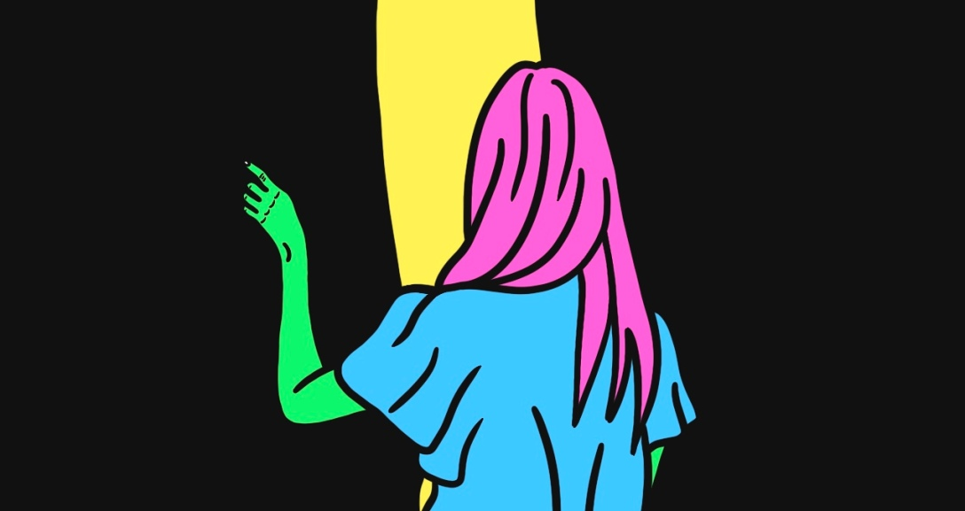 Green person is standing by their window, pulling the black curtains to the side. They have long, blue hair and a pink, flowy top.