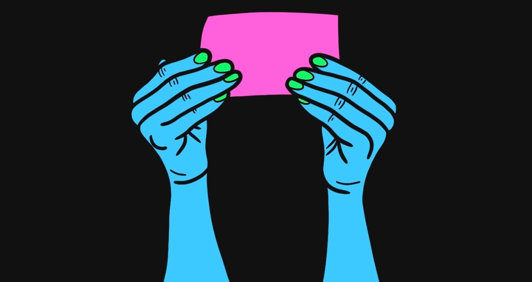 Blue hands are holding up a piece of pink paper. Their nails are painted neon green.