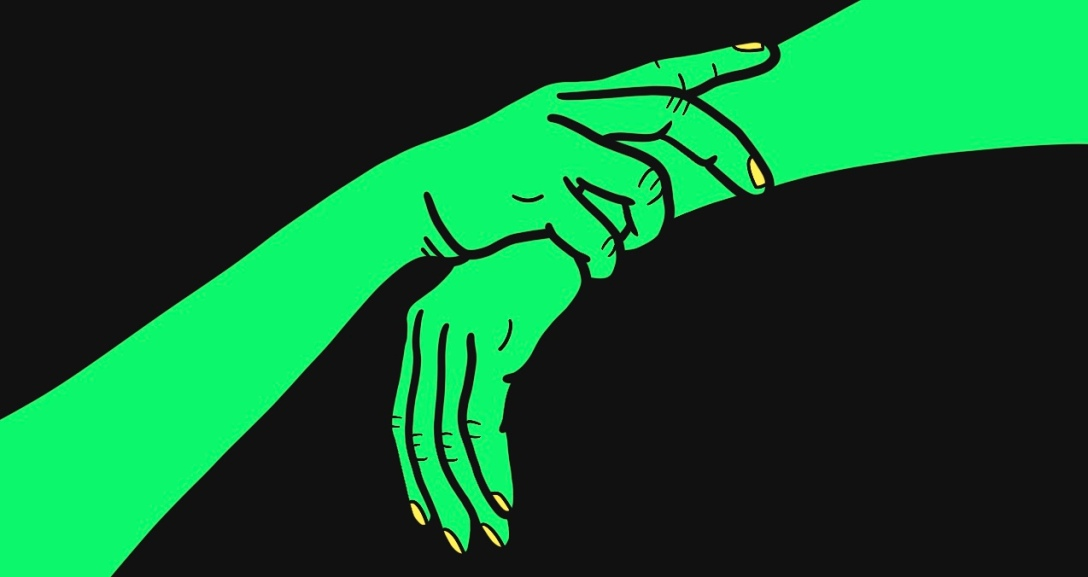 A green hand is holding onto the wrist of another green hand, as if to stop them from leaving. Their nails are painted neon yellow.