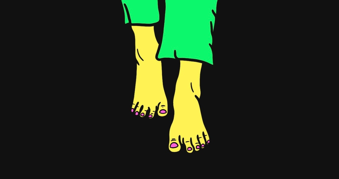 Yellow person is walking barefoot. They are wearing green trousers and sporting neon pink toenails.