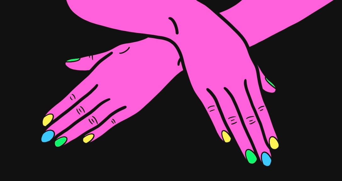 Pink pair of hands cross over one another. Nails are painted neon yellow, green and blue.