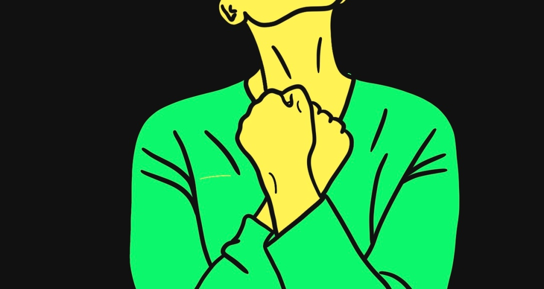 Yellow person is looking up as their hands are clenched against their chest. They are wearing a green top.