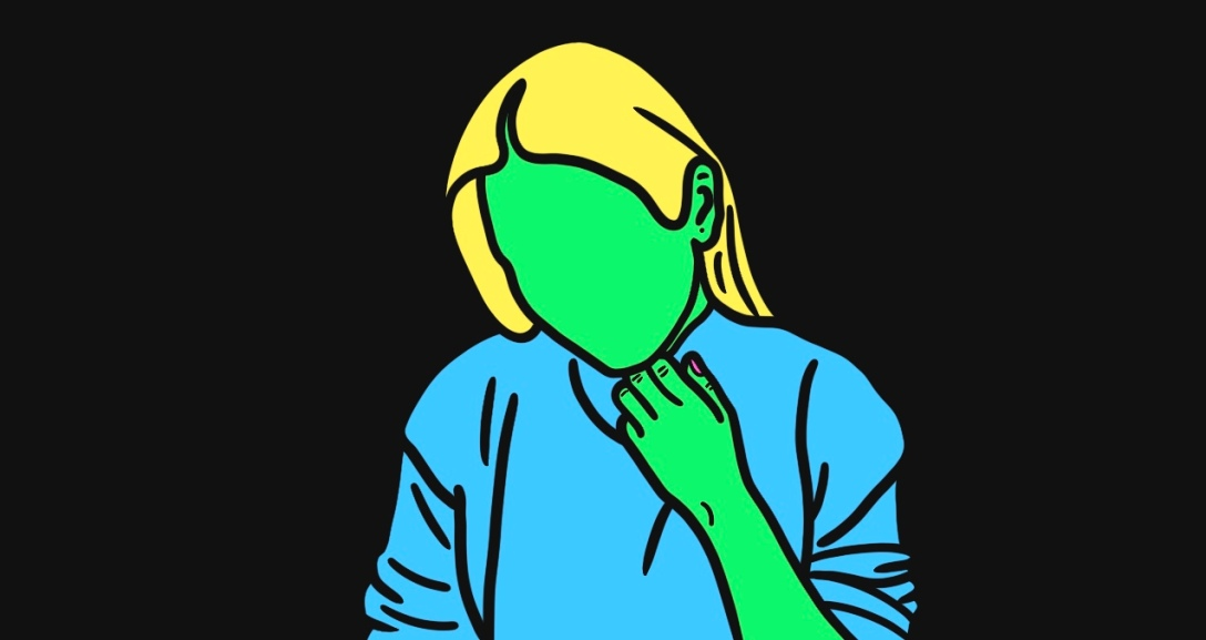 Green person is leaning on their left hand, looking down. They had mid-length blonde hair and is wearing a blue jumper.