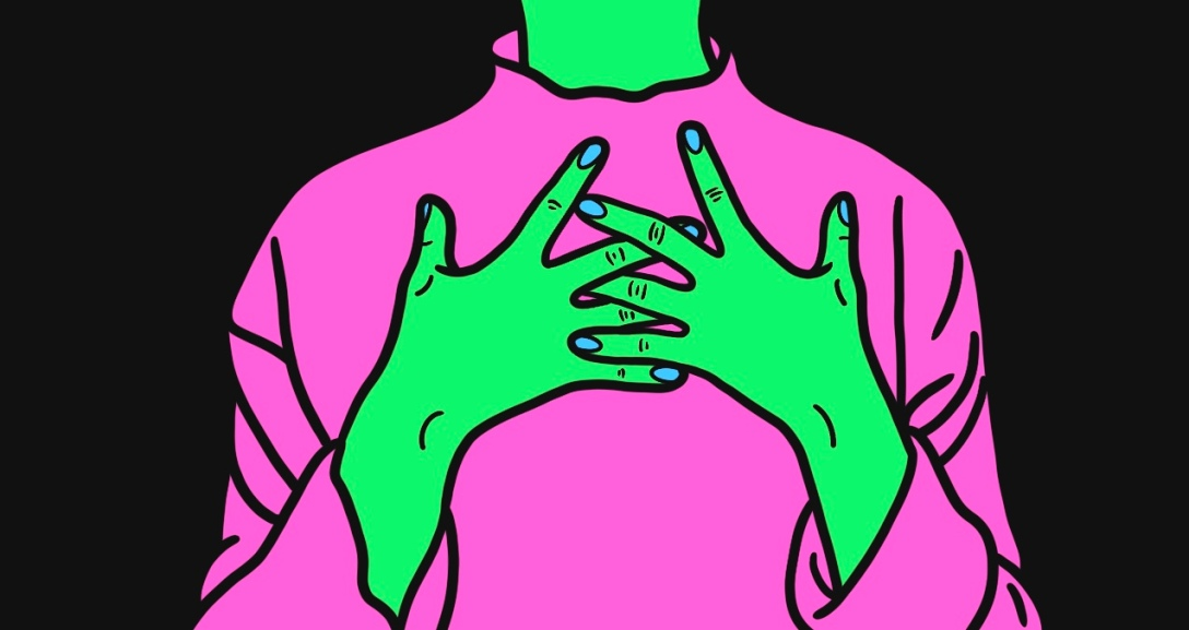 Green person has both hands spread across the middle of their chest. They are wearing a pink turtleneck jumper.
