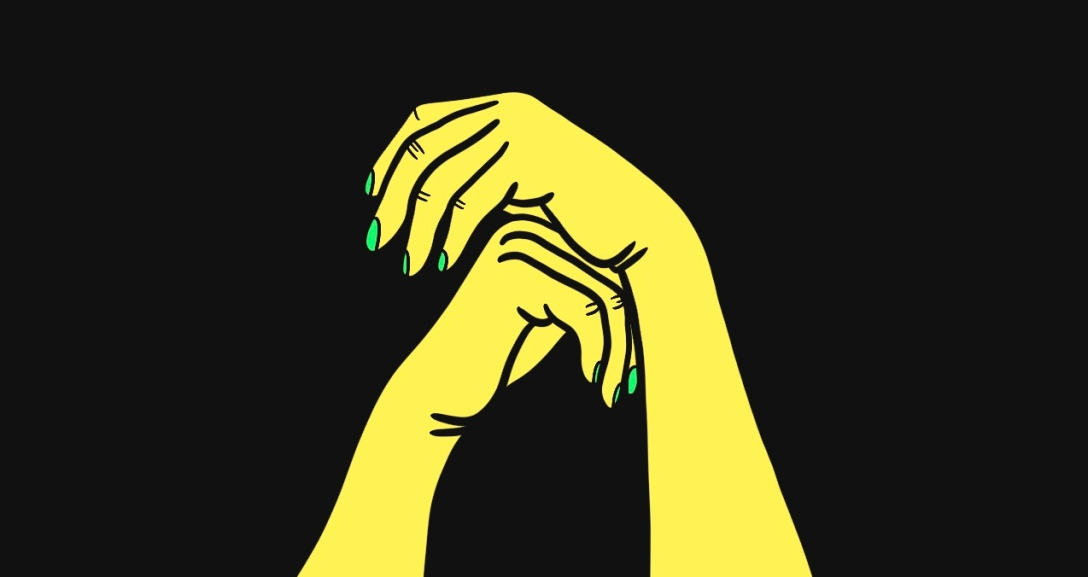 Yellow hands are leaning on one another. They have green painted nails.