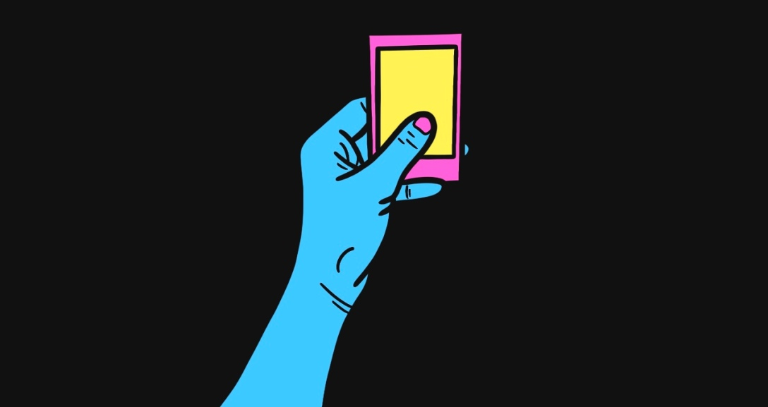 Blue person is holding a pink and yellow polaroid.