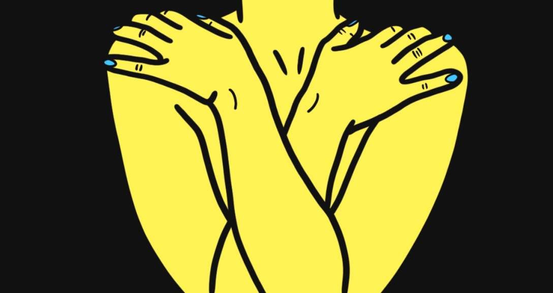 Yellow person is standing naked with only their torso showing. They have both arms crossed over their chest as they hold onto their shoulders. Their nails are painted neon blue.