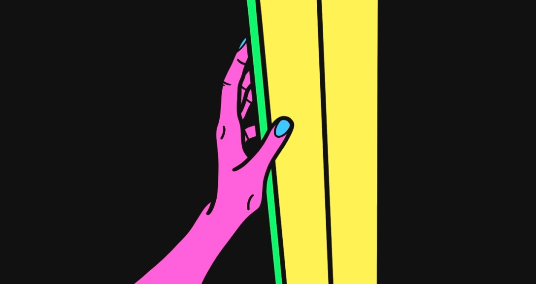 pink hand is leaning against a green and yellow door frame.