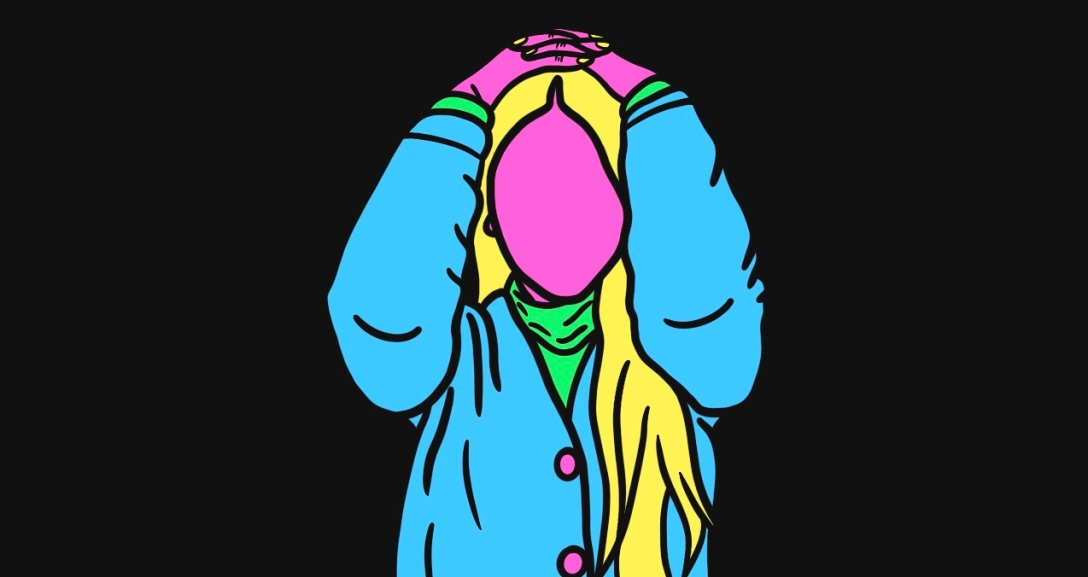 Pink person with long, neon yellow hair has both hands resting on their head. They are wearing a blue cardigan with pink buttons over a green turtleneck.