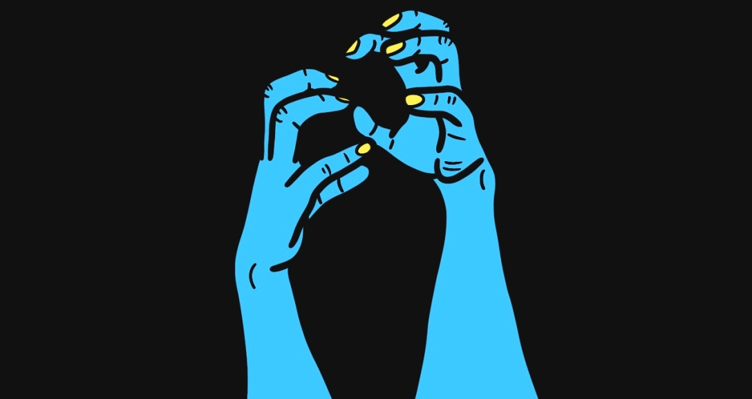 Two blue hands with fingertips like claws, threatening at each other. Their nails are painted neon yellow.