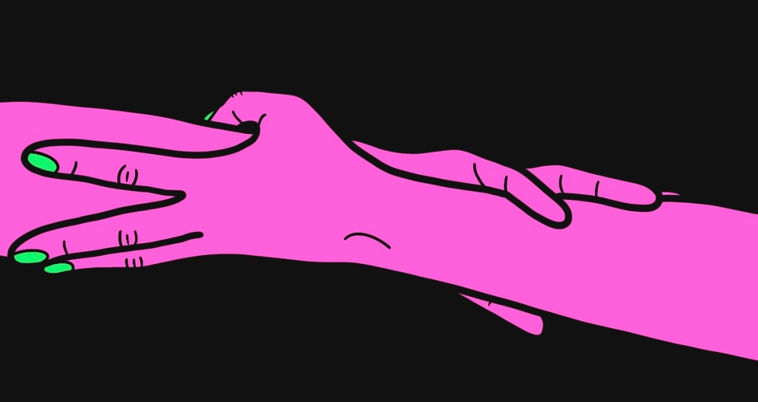 Pair of pink arms entwined between one another. Their nails are painted neon green.