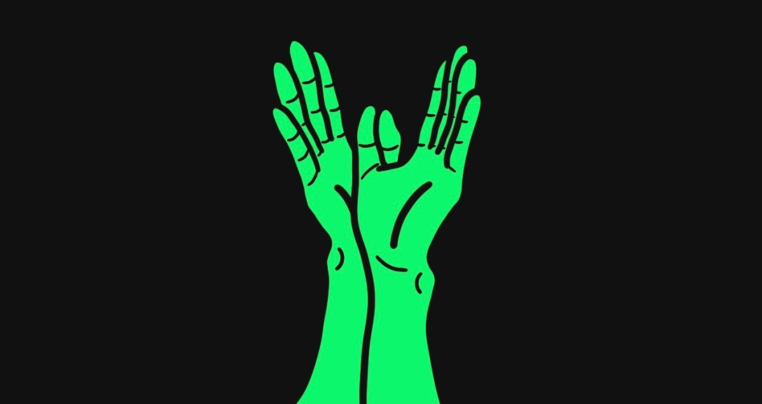 A pair of green hands wrapped into the shape of wings.