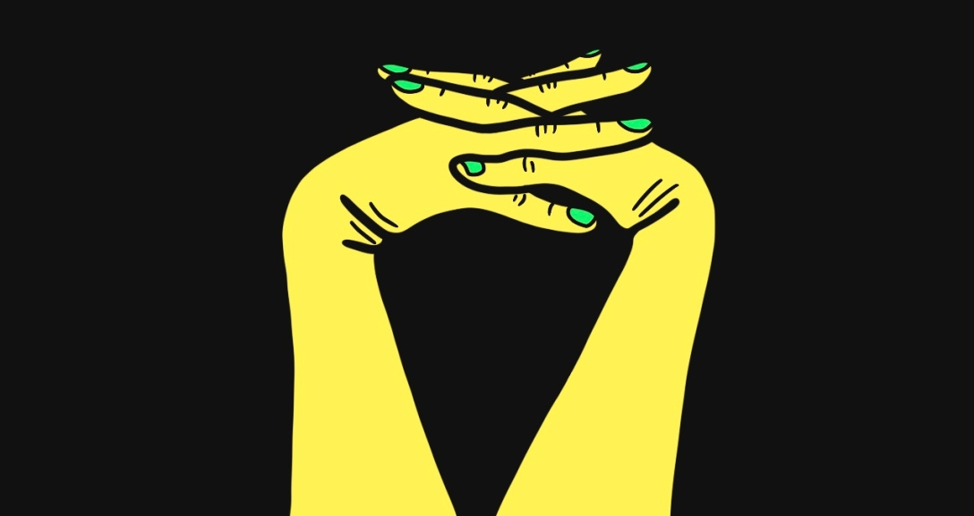 A yellow pair of hands leaning with fingers interlocked between one another. Their nails are painted neon green.