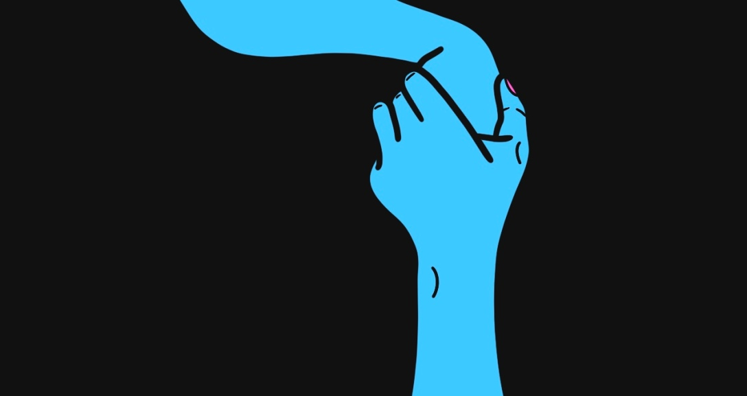 Two blue hands holding each other from opposite sides.