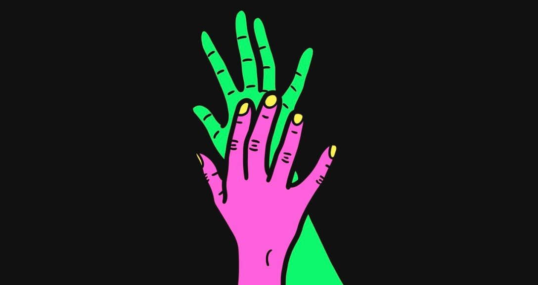 A green hand stretched out mid-air as pink hand, with neon yellow nails, touches their palm.