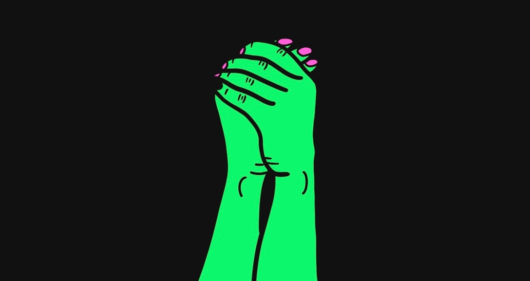A pair of green hands holding each other with their nails painted neon pink.