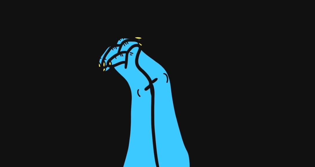 Two blue hands holding hands with fingers interlocking, their nails painted neon yellow.