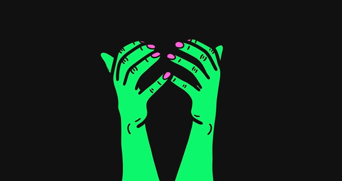 A pair of green hands curled in mid-air, with neon pink nails.