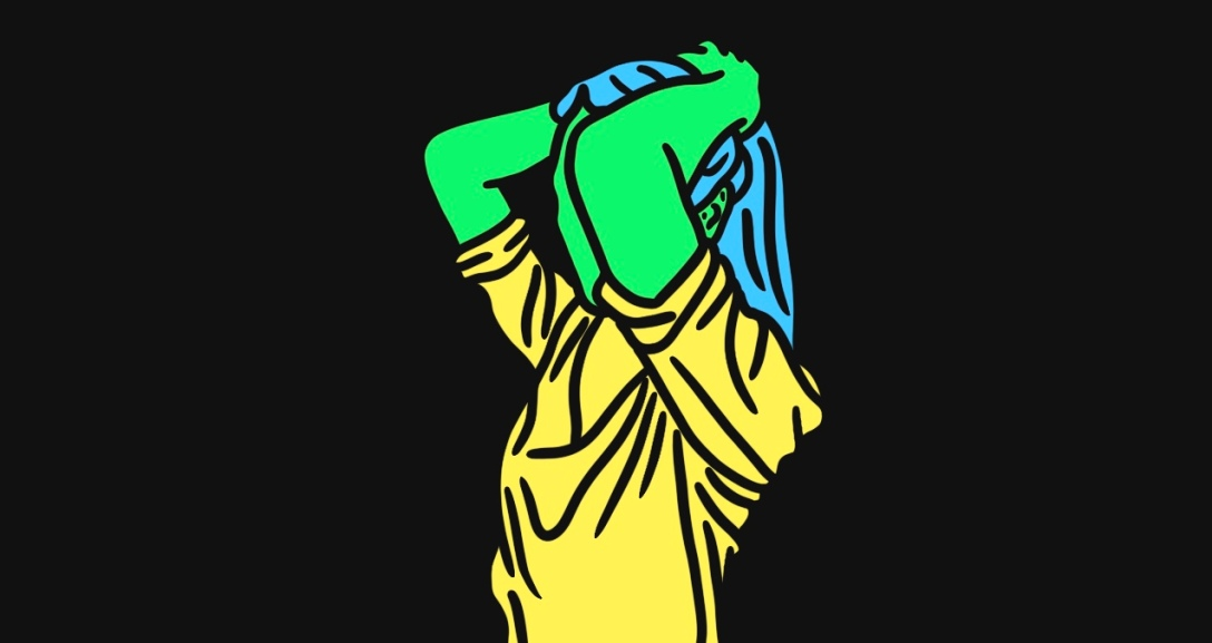 Green person has their hands lifting their long, blue hair back into a ponytail. They are wearing a yellow top
