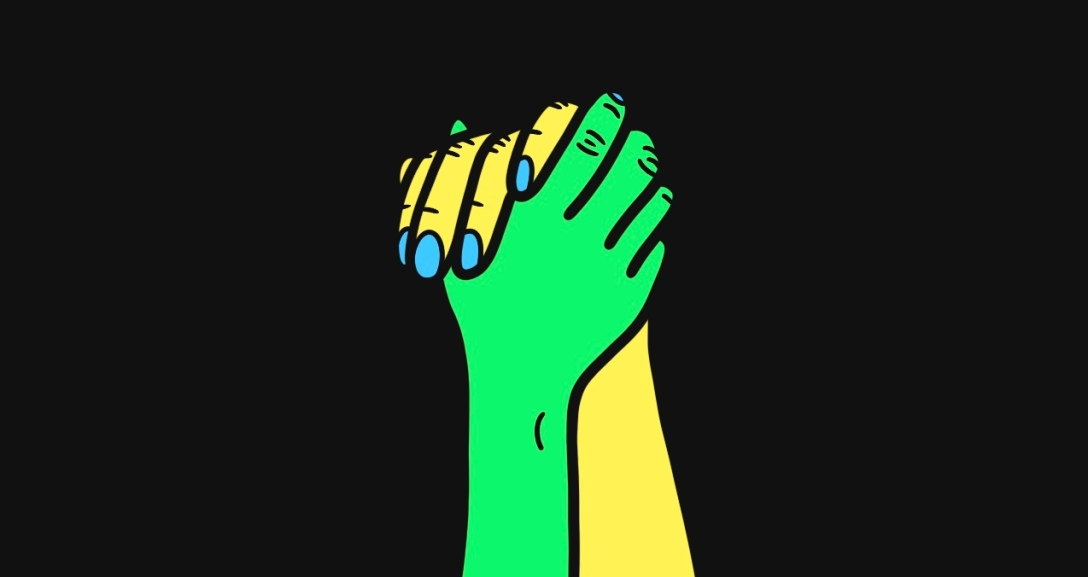 Green hand is holding onto yellow hand tightly - their nails are painted neon blue.