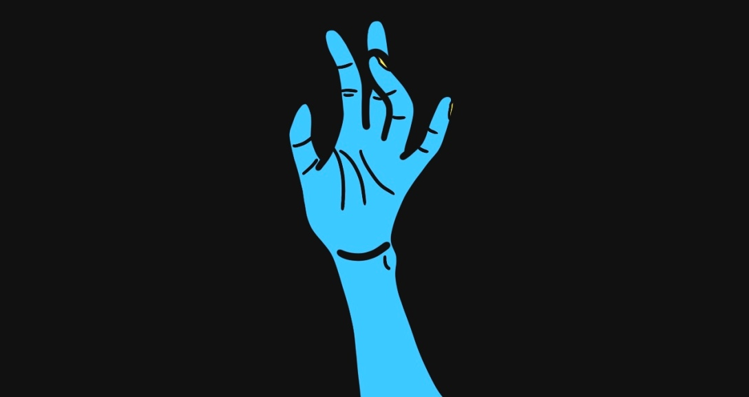 A blue hand held up in the air with fingers moved in different directions. Their nails are painted neon yellow.