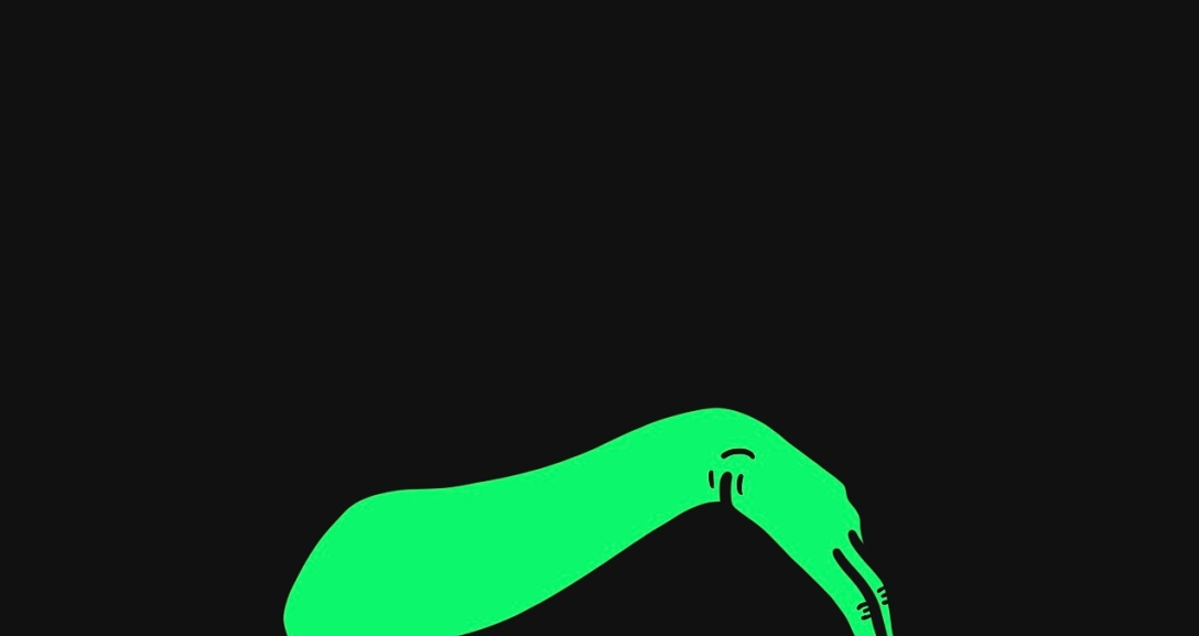 A green arm is arched across. with fingers curled into the palm.
