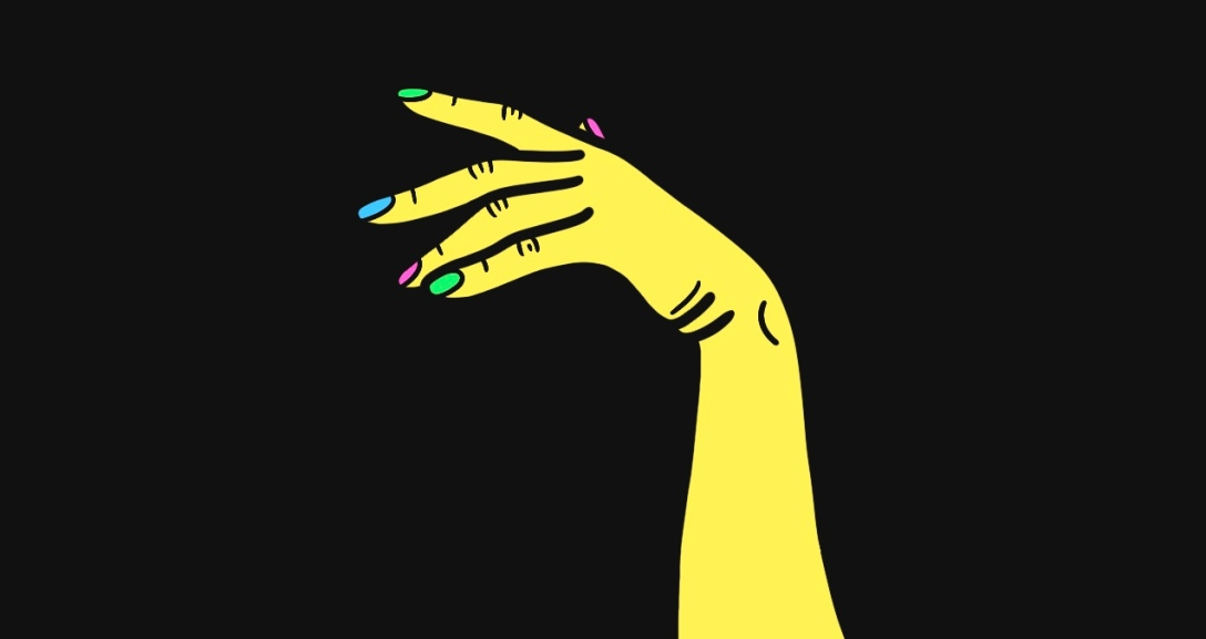 A yellow hand hanging in the air as if to call someone back.