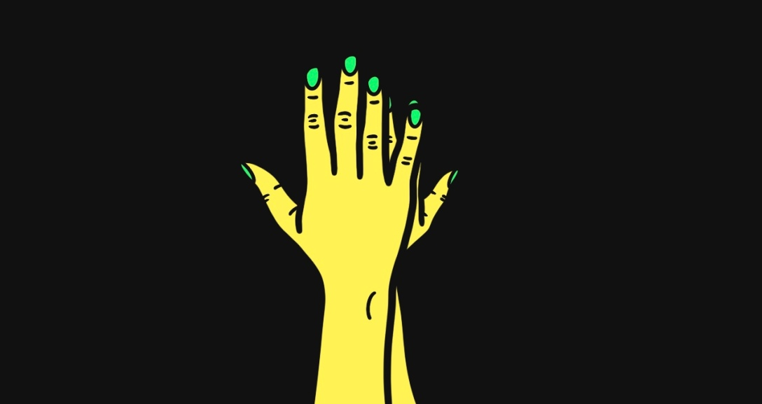 A pair of yellow hands held up, with one hiding behind the other. Their nails are painted neon green.