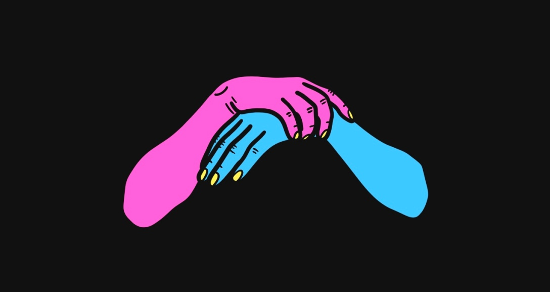 A pink hand holding onto the wrist of a blue hand. Their nails are painted neon yellow.