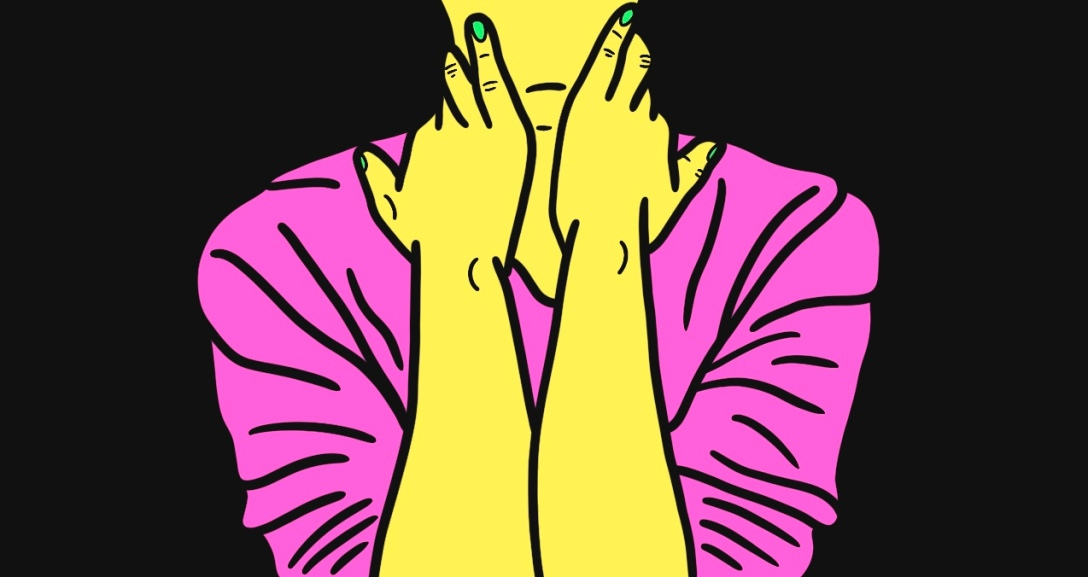 A yellow person is facing you with both hands holding the sides of their neck. They are wearing pink top with green nails.
