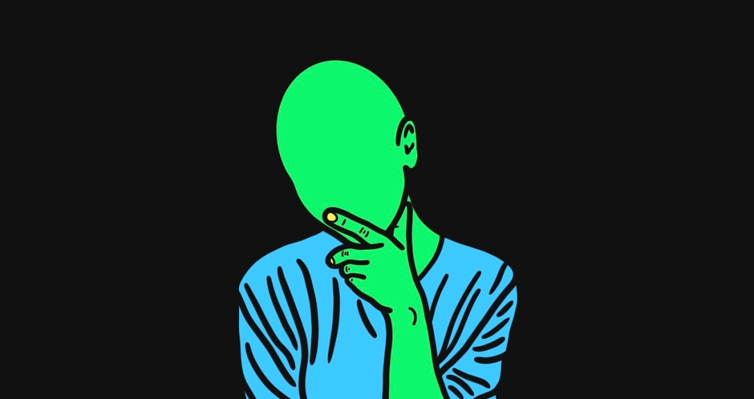 Green person has their head tilted with their hand on the chin, finger on the lips. They are wearing a blue top with yellow nails.
