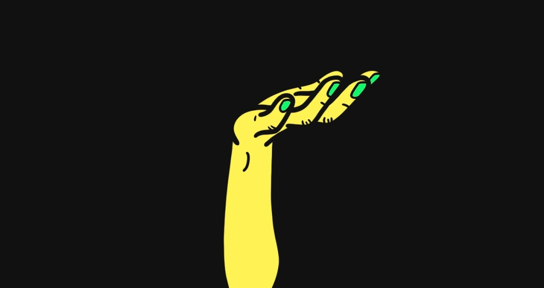 A yellow hand held up with the palm showing as if in offering. Their nails are painted neon green.