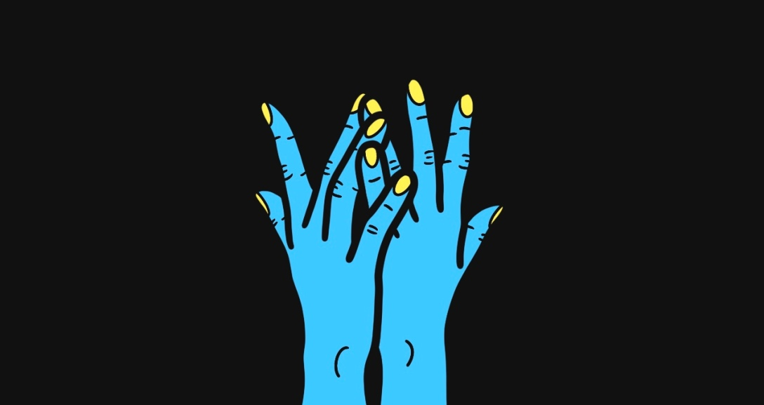 A pair of blue hands side by side with some of the fingers interweaving between each other. Their nails are painted neon yellow.