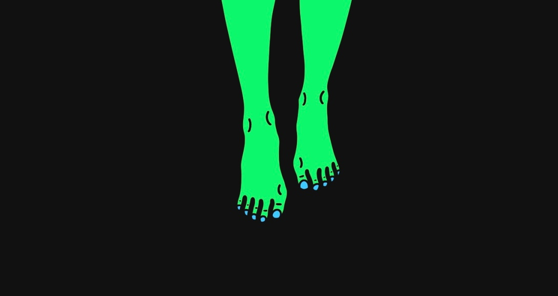 A pair of green legs walking, with neon blue nails.