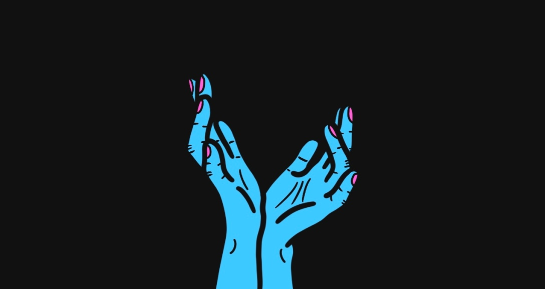A pair of blue hands with wrist pressed together as their fingers spread wide and curl in different directions. Their nails are neon pink.