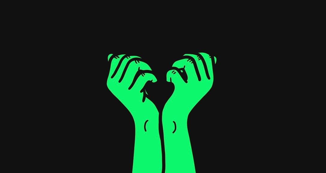 A pair of green hands with fingers curled into their palms.