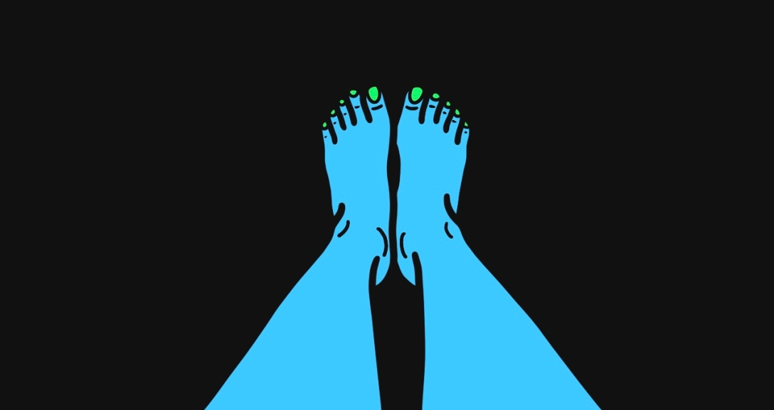 A blue person is lying down with their legs showing from the shin downwards. Their toenails are painted neon green.